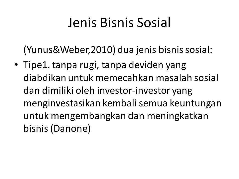 Jenis Bisnis Sosial (Yunus&Weber,2010) dua jenis bisnis sosial: • Tipe1. tanpa rugi, tanpa deviden yang diabdikan untuk memecahkan masalah sosial dan