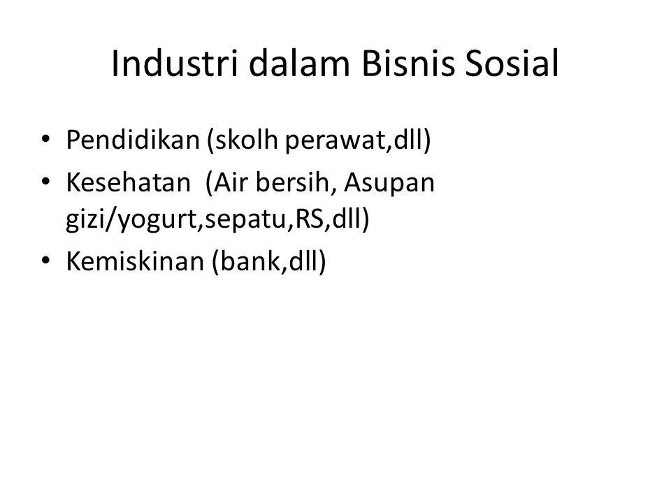 Industri dalam Bisnis Sosial • Pendidikan (skolh perawat,dll) • Kesehatan (Air bersih, Asupan gizi/yogurt,sepatu,RS,dll) • Kemiskinan (bank,dll)