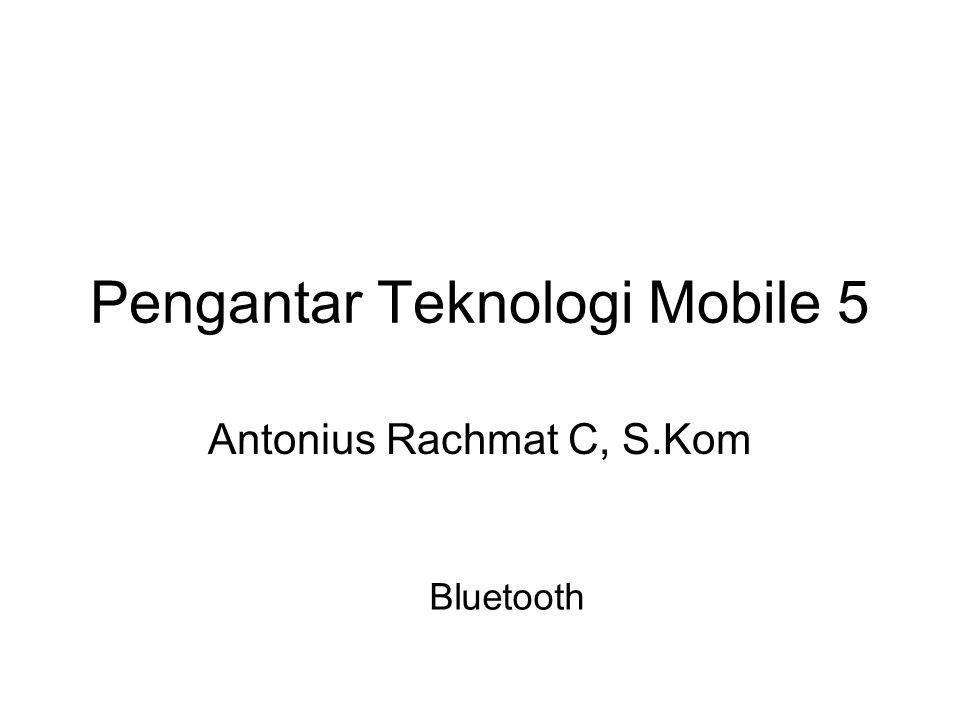 •Bluetooth adalah sebuah teknologi komunikasi wireless (tanpa kabel) yang beroperasi dalam pita frekuensi 2,4 GHz •Menyediakan layanan komunikasi data dan suara secara real-time antara host-host bluetooth dengan jarak jangkauan layanan yang terbatas.