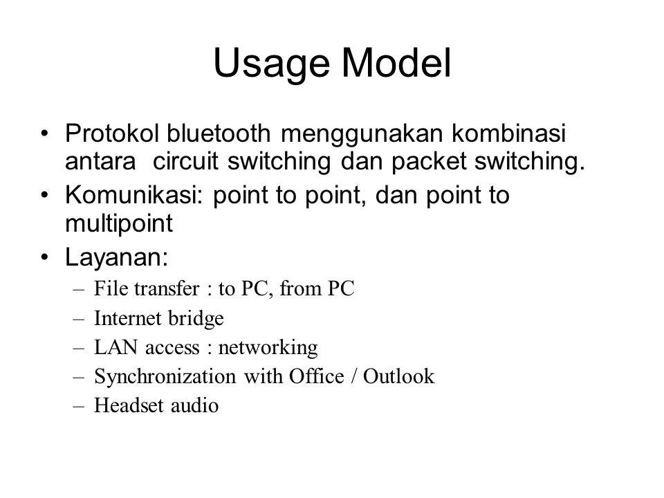 Usage Model •Protokol bluetooth menggunakan kombinasi antara circuit switching dan packet switching. •Komunikasi: point to point, dan point to multipo
