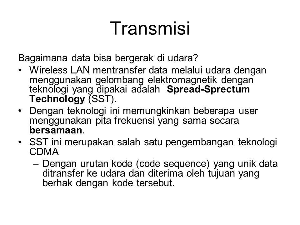 Transmisi Bagaimana data bisa bergerak di udara? •Wireless LAN mentransfer data melalui udara dengan menggunakan gelombang elektromagnetik dengan tekn