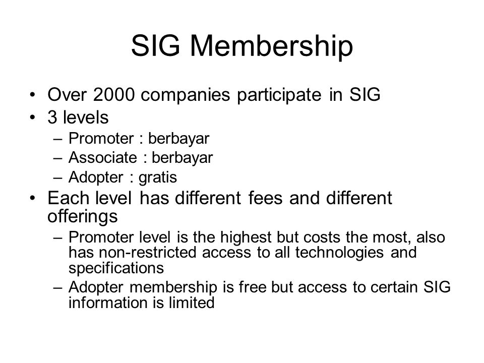 SIG Membership •Over 2000 companies participate in SIG •3 levels –Promoter : berbayar –Associate : berbayar –Adopter : gratis •Each level has differen