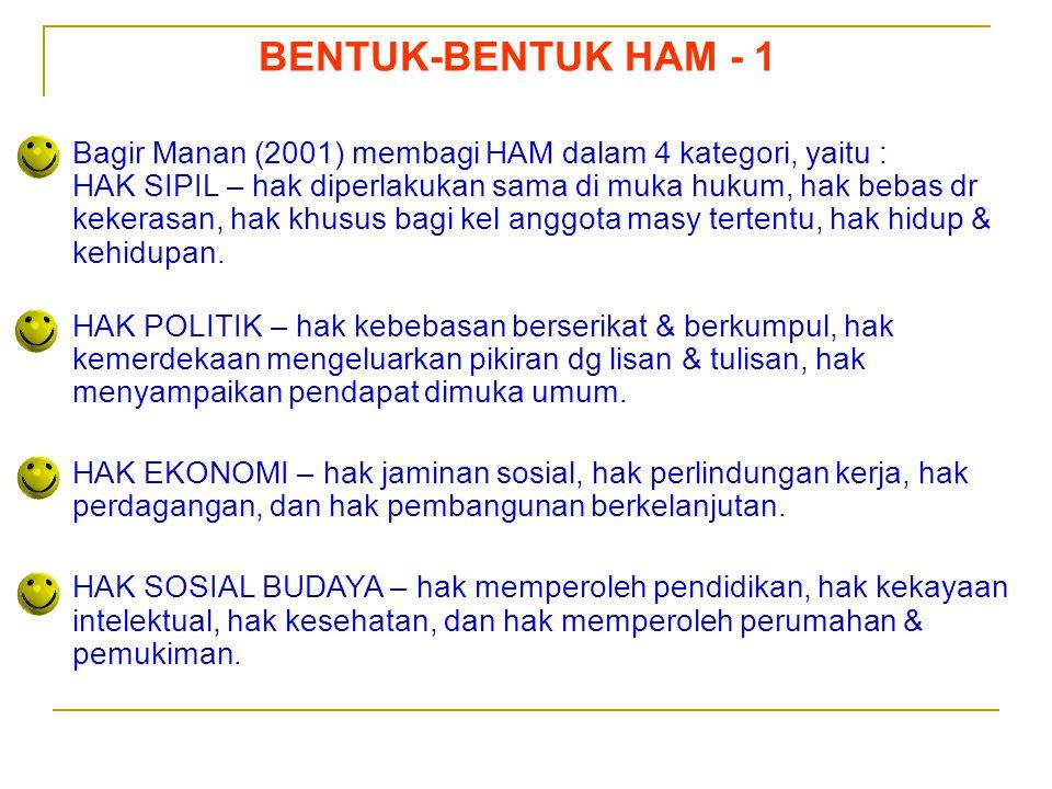 Sedarnawati Yasni BENTUK-BENTUK HAM - 1 Bagir Manan (2001) membagi HAM dalam 4 kategori, yaitu : HAK SIPIL – hak diperlakukan sama di muka hukum, hak
