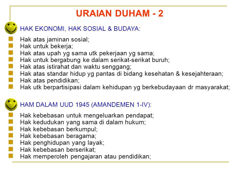 Sedarnawati Yasni URAIAN DUHAM - 2 HAK EKONOMI, HAK SOSIAL & BUDAYA:  Hak atas jaminan sosial;  Hak untuk bekerja;  Hak atas upah yg sama utk peker