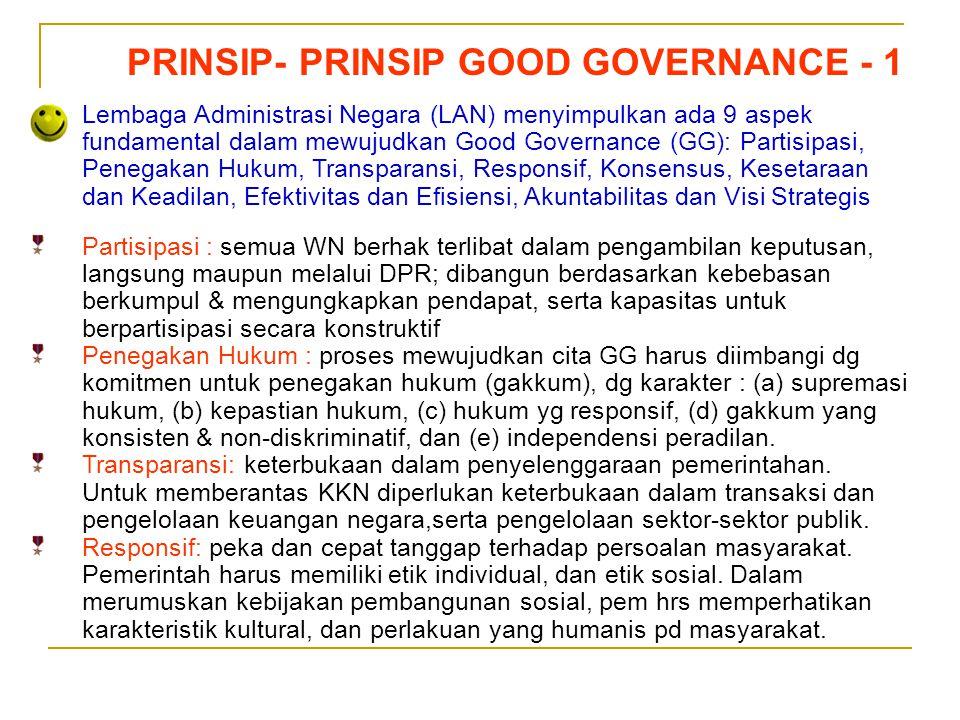 Sedarnawati Yasni PRINSIP- PRINSIP GOOD GOVERNANCE - 1 Lembaga Administrasi Negara (LAN) menyimpulkan ada 9 aspek fundamental dalam mewujudkan Good Go