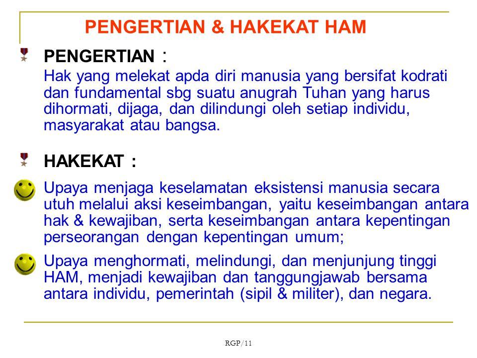 Sedarnawati Yasni RGP/11 PENGERTIAN & HAKEKAT HAM PENGERTIAN : Hak yang melekat apda diri manusia yang bersifat kodrati dan fundamental sbg suatu anug