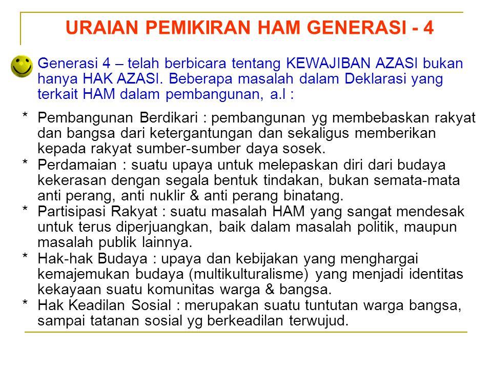 Sedarnawati Yasni URAIAN PEMIKIRAN HAM GENERASI - 4 Generasi 4 – telah berbicara tentang KEWAJIBAN AZASI bukan hanya HAK AZASI. Beberapa masalah dalam