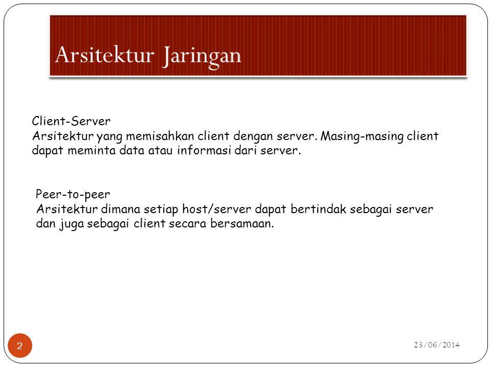 23/06/2014 2 Client-Server Arsitektur yang memisahkan client dengan server. Masing-masing client dapat meminta data atau informasi dari server. Peer-t