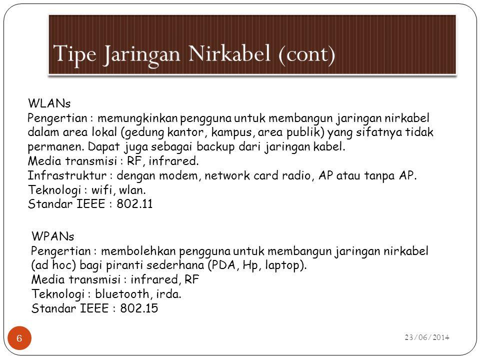 23/06/2014 6 WLANs Pengertian : memungkinkan pengguna untuk membangun jaringan nirkabel dalam area lokal (gedung kantor, kampus, area publik) yang sif