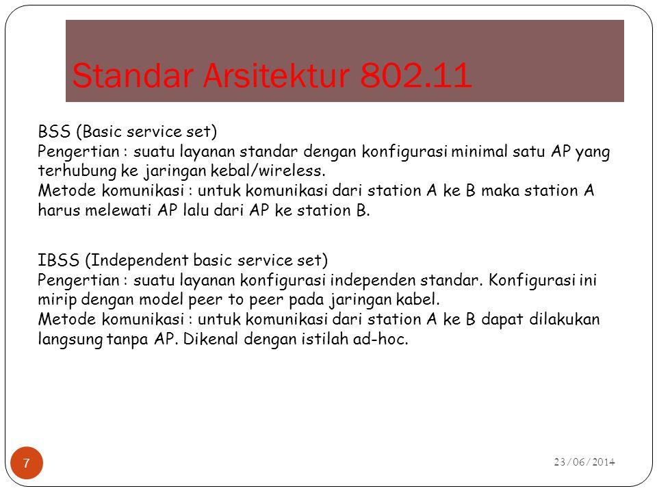Standar Arsitektur 802.11 23/06/2014 7 BSS (Basic service set) Pengertian : suatu layanan standar dengan konfigurasi minimal satu AP yang terhubung ke