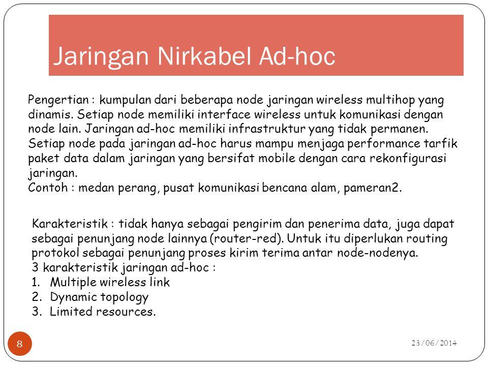 Jaringan Nirkabel Ad-hoc 23/06/2014 8 Pengertian : kumpulan dari beberapa node jaringan wireless multihop yang dinamis. Setiap node memiliki interface