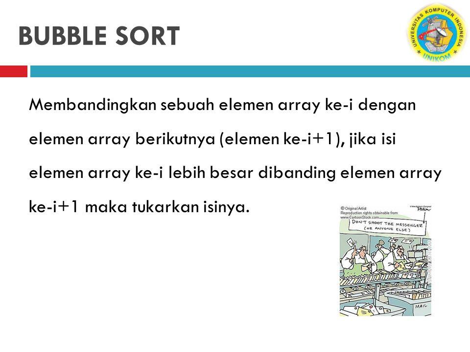BUBBLE SORT Membandingkan sebuah elemen array ke-i dengan elemen array berikutnya (elemen ke-i+1), jika isi elemen array ke-i lebih besar dibanding el