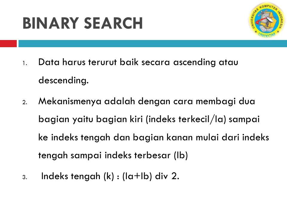 BINARY SEARCH 1. Data harus terurut baik secara ascending atau descending. 2. Mekanismenya adalah dengan cara membagi dua bagian yaitu bagian kiri (in
