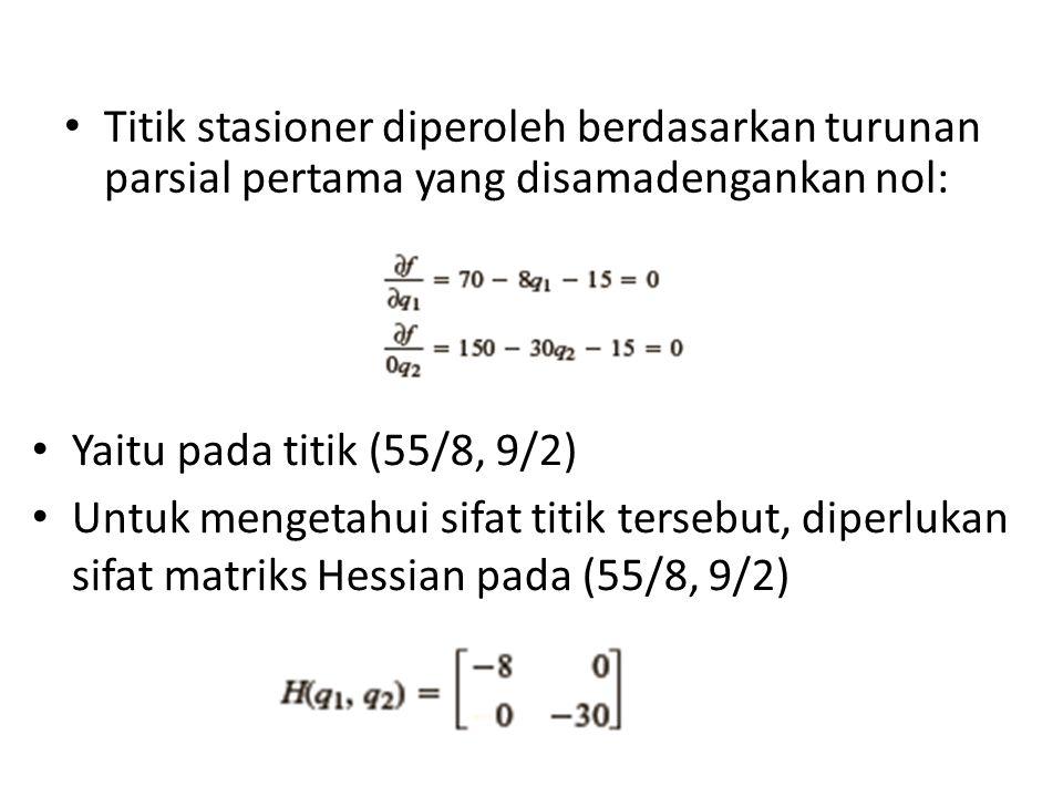 • Titik stasioner diperoleh berdasarkan turunan parsial pertama yang disamadengankan nol: • Yaitu pada titik (55/8, 9/2) • Untuk mengetahui sifat titik tersebut, diperlukan sifat matriks Hessian pada (55/8, 9/2)