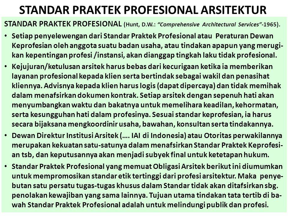 STANDAR PRAKTEK PROFESIONAL ARSITEKTUR STANDAR PRAKTEK PROFESIONAL (Hunt, D.W.: Comprehensive Architectural Services -1965).