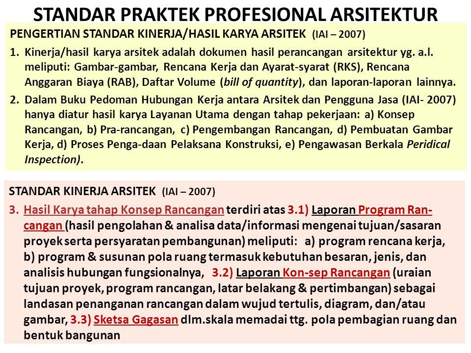 STANDAR PRAKTEK PROFESIONAL ARSITEKTUR PENGERTIAN STANDAR KINERJA/HASIL KARYA ARSITEK (IAI – 2007) 1.Kinerja/hasil karya arsitek adalah dokumen hasil perancangan arsitektur yg.