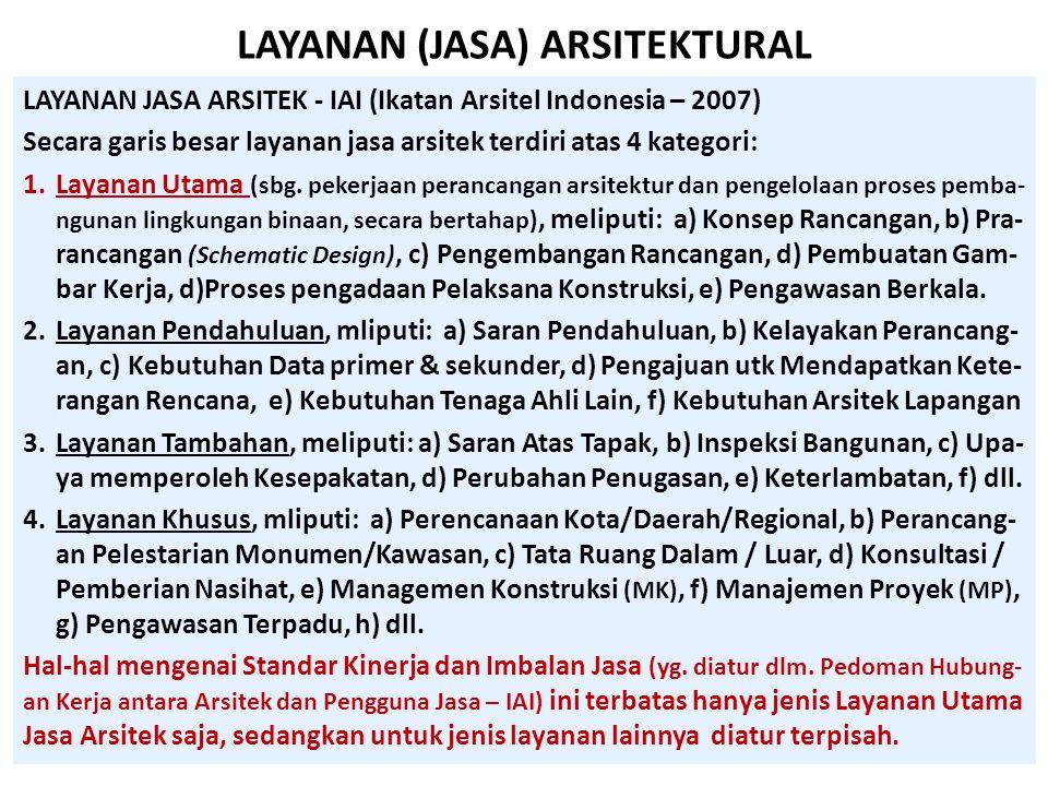 LAYANAN (JASA) ARSITEKTURAL LAYANAN JASA ARSITEK - IAI (Ikatan Arsitel Indonesia – 2007) Secara garis besar layanan jasa arsitek terdiri atas 4 katego