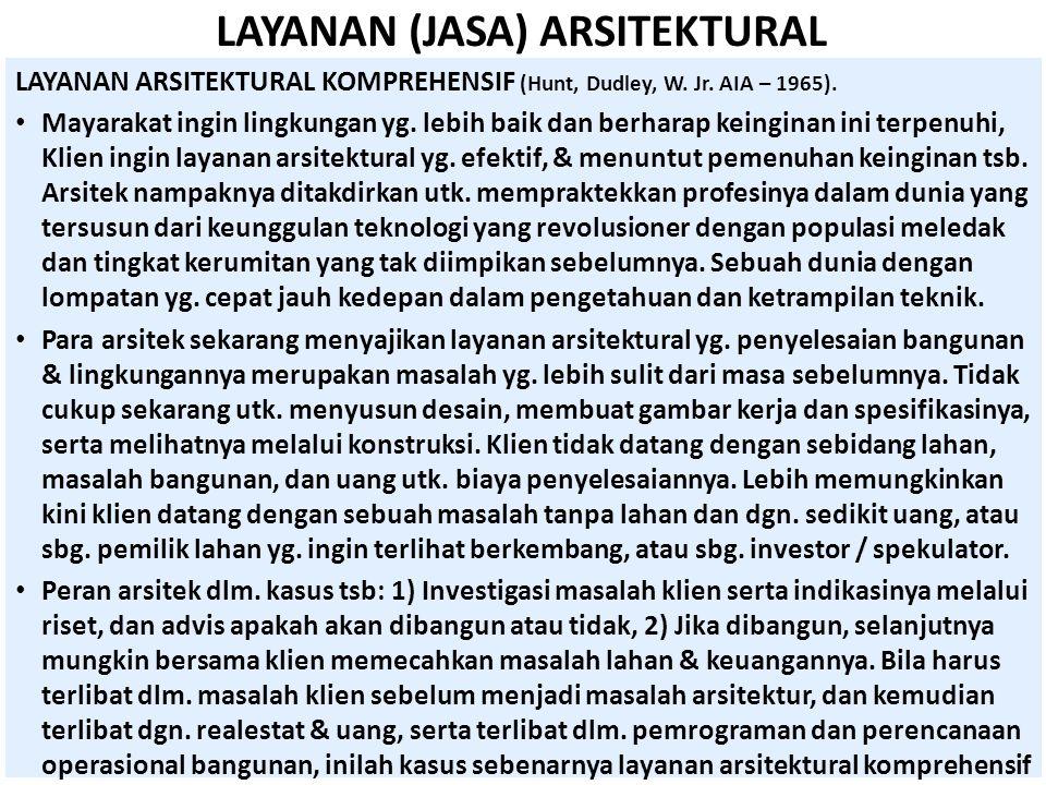 LAYANAN (JASA) ARSITEKTURAL LAYANAN ARSITEKTURAL KOMPREHENSIF (Hunt, Dudley, W. Jr. AIA – 1965). • Mayarakat ingin lingkungan yg. lebih baik dan berha