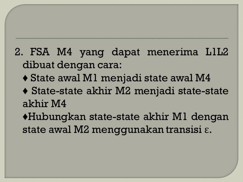 2. FSA M4 yang dapat menerima L1L2 dibuat dengan cara: ♦ State awal M1 menjadi state awal M4 ♦ State-state akhir M2 menjadi state-state akhir M4 ♦ Hub