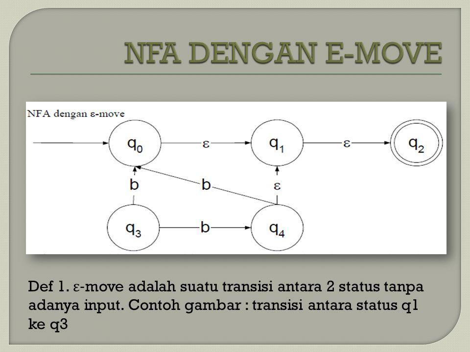 Def 1. ε -move adalah suatu transisi antara 2 status tanpa adanya input. Contoh gambar : transisi antara status q1 ke q3