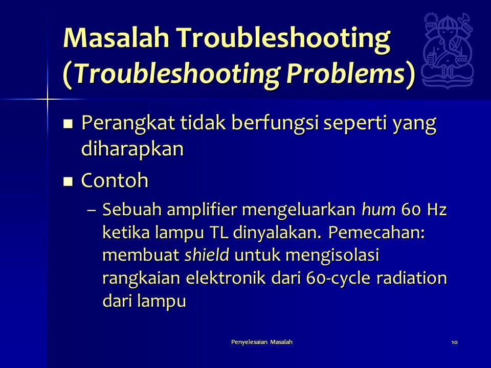 Penyelesaian Masalah10 Masalah Troubleshooting (Troubleshooting Problems)  Perangkat tidak berfungsi seperti yang diharapkan  Contoh –Sebuah amplifi