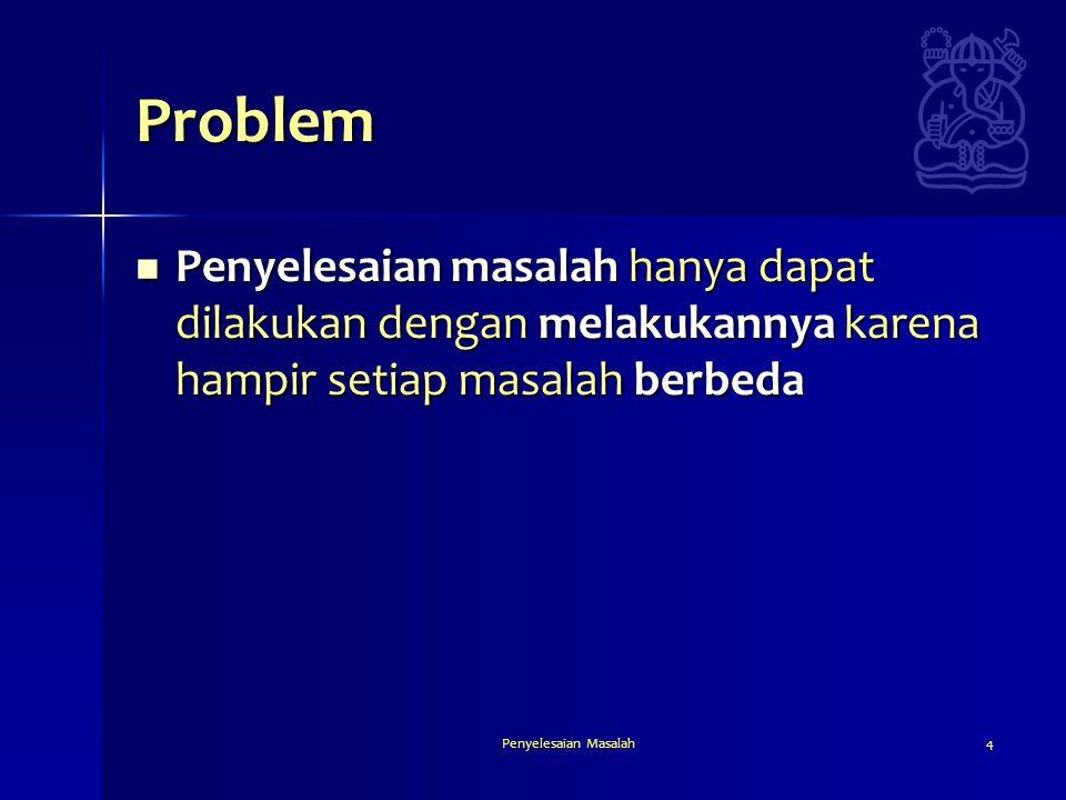 Penyelesaian Masalah4 Problem  Penyelesaian masalah hanya dapat dilakukan dengan melakukannya karena hampir setiap masalah berbeda