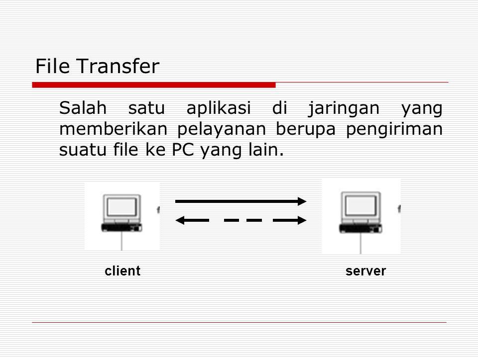File Transfer Salah satu aplikasi di jaringan yang memberikan pelayanan berupa pengiriman suatu file ke PC yang lain. clientserver