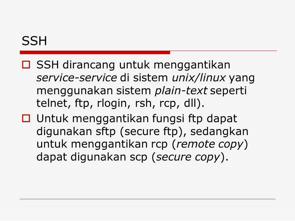 SSH  SSH dirancang untuk menggantikan service-service di sistem unix/linux yang menggunakan sistem plain-text seperti telnet, ftp, rlogin, rsh, rcp, dll).