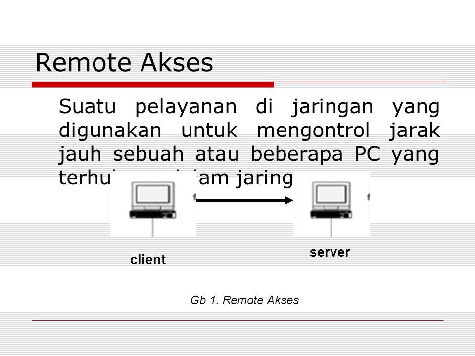 Remote Akses Suatu pelayanan di jaringan yang digunakan untuk mengontrol jarak jauh sebuah atau beberapa PC yang terhubung dalam jaringan.