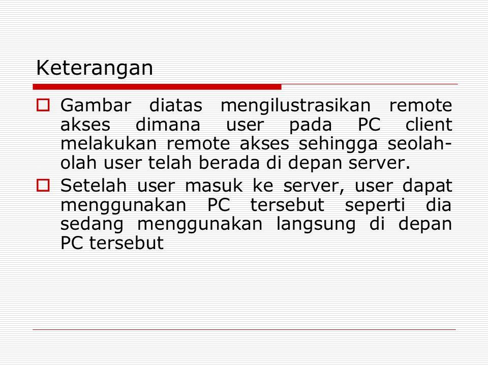 Keterangan  Gambar diatas mengilustrasikan remote akses dimana user pada PC client melakukan remote akses sehingga seolah- olah user telah berada di depan server.