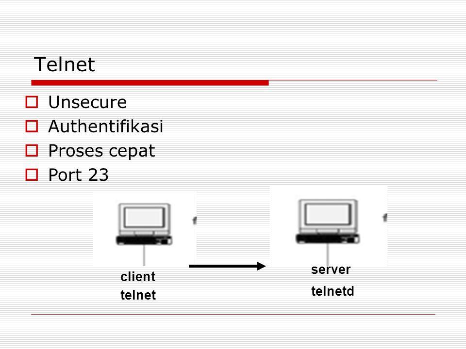 Telnet  Unsecure  Authentifikasi  Proses cepat  Port 23 client server telnet telnetd