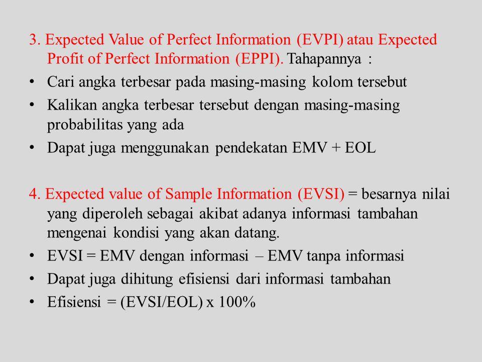 3. Expected Value of Perfect Information (EVPI) atau Expected Profit of Perfect Information (EPPI). Tahapannya : • Cari angka terbesar pada masing-mas