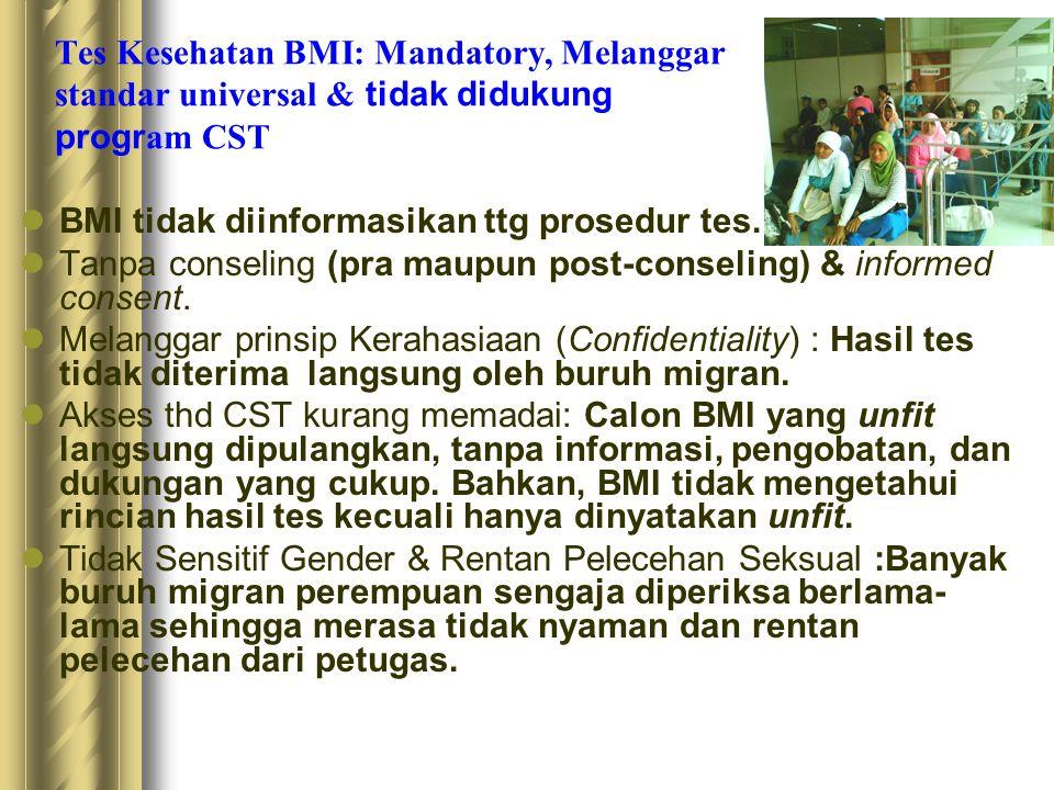 Tes Kesehatan BMI: Mandatory, Melanggar standar universal & tidak didukung progr am CST  BMI tidak diinformasikan ttg prosedur tes.