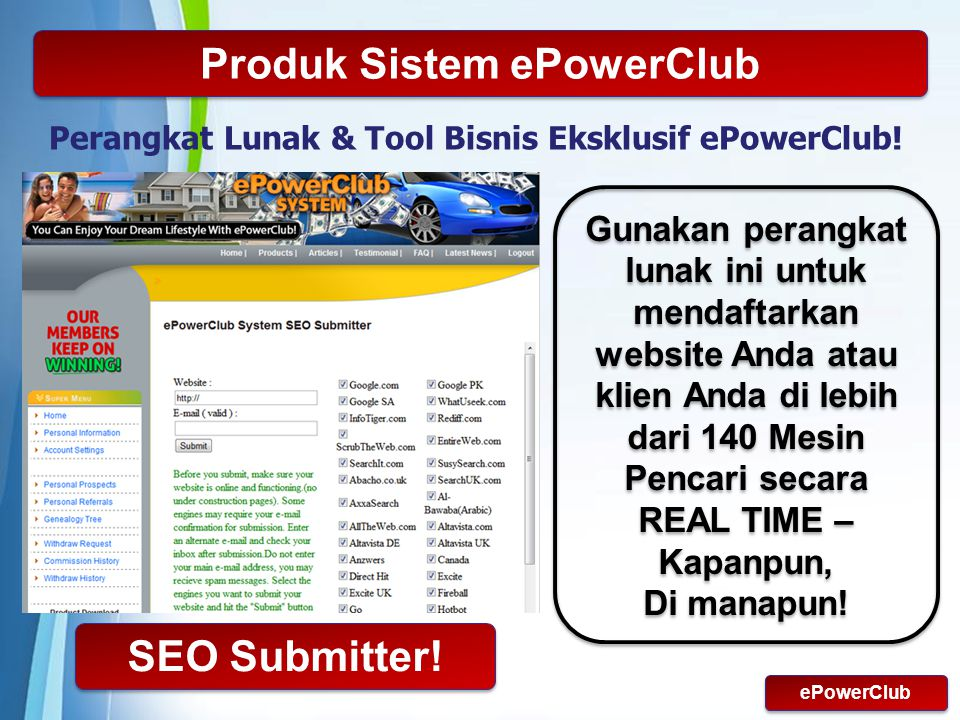 Powerpoint Templates Page 13 Produk Sistem ePowerClub Perangkat Lunak & Tool Bisnis Eksklusif ePowerClub.