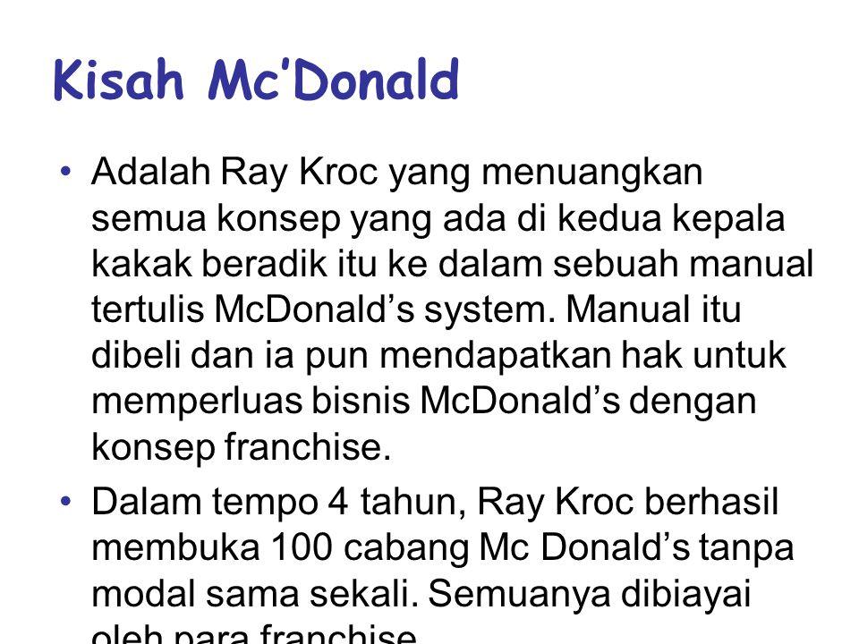 Kisah Mc'Donald •Adalah Ray Kroc yang menuangkan semua konsep yang ada di kedua kepala kakak beradik itu ke dalam sebuah manual tertulis McDonald's system.