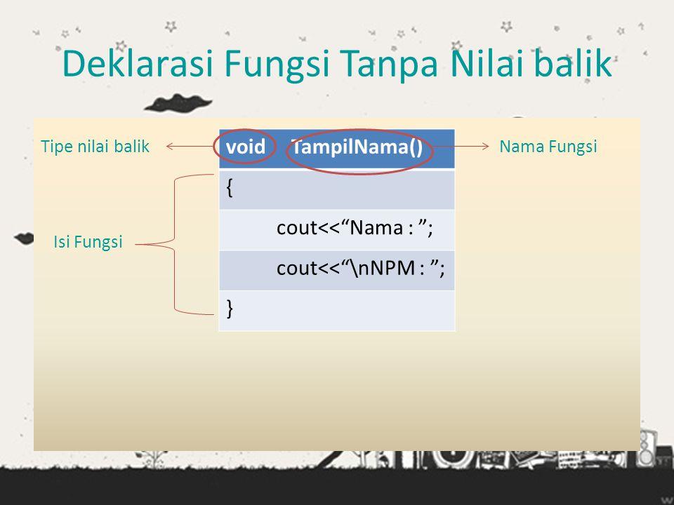 """Deklarasi Fungsi Tanpa Nilai balik Tipe nilai balik Nama Fungsi Isi Fungsi void TampilNama() { cout<<""""Nama : """"; cout<<""""\nNPM : """"; }"""