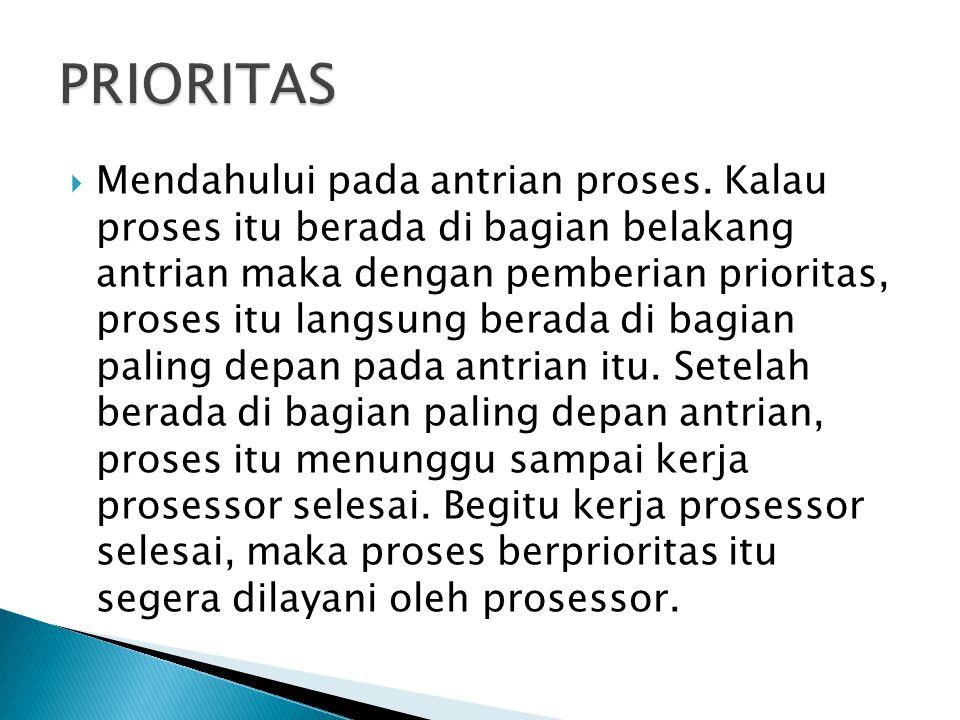  Menyerupai prioritas, proses di bagian belakang antrian akan segera beralih ke bagian paling depan dari antrian itu.