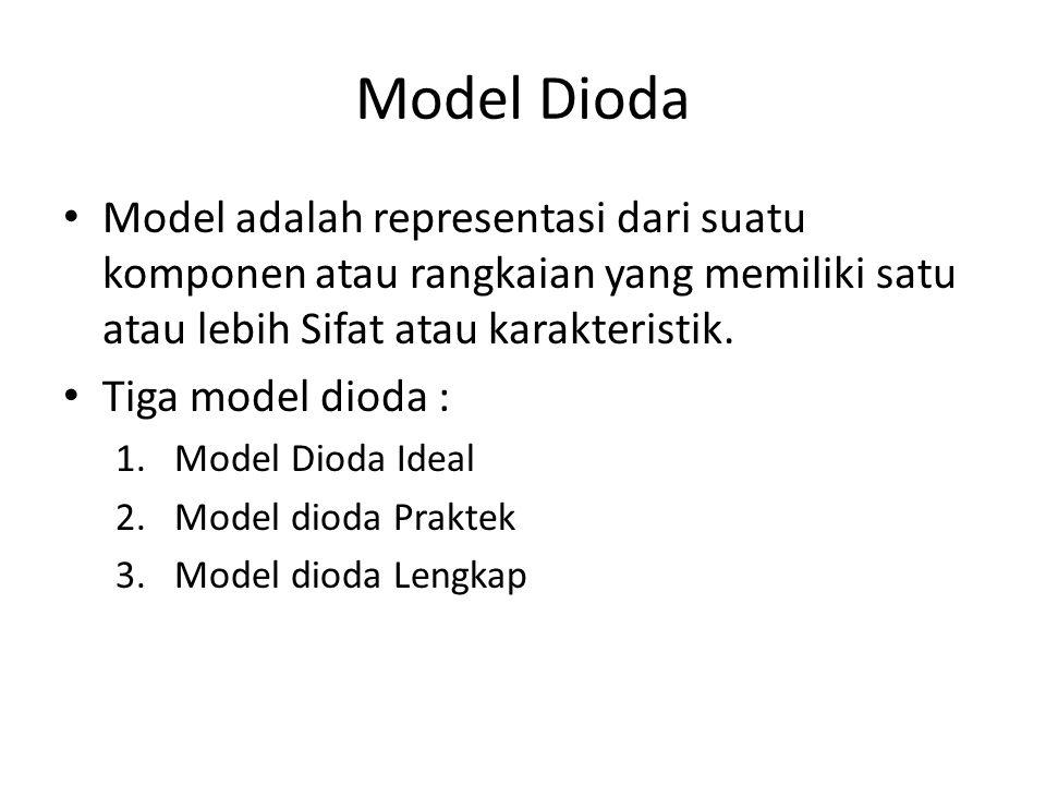 Model Dioda • Model adalah representasi dari suatu komponen atau rangkaian yang memiliki satu atau lebih Sifat atau karakteristik. • Tiga model dioda