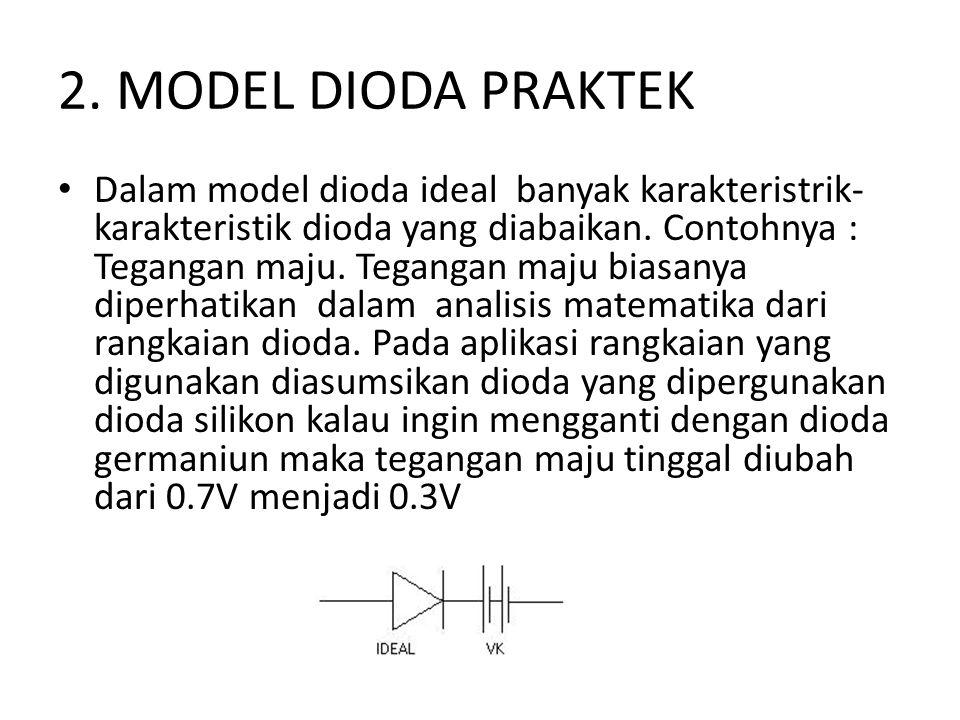 2. MODEL DIODA PRAKTEK • Dalam model dioda ideal banyak karakteristrik- karakteristik dioda yang diabaikan. Contohnya : Tegangan maju. Tegangan maju b