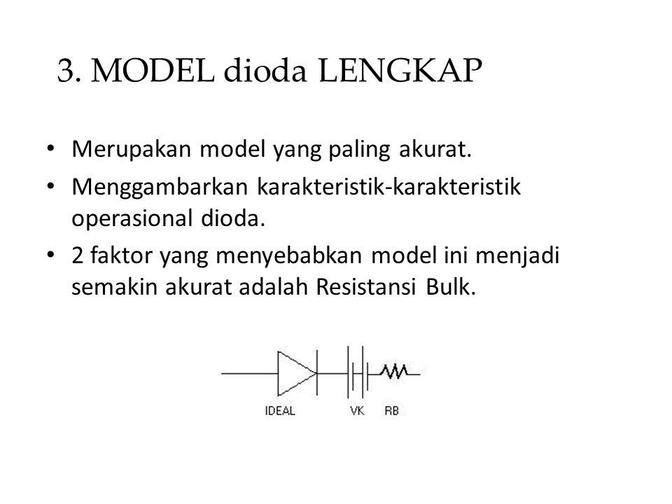 3. MODEL dioda LENGKAP • Merupakan model yang paling akurat. • Menggambarkan karakteristik-karakteristik operasional dioda. • 2 faktor yang menyebabka