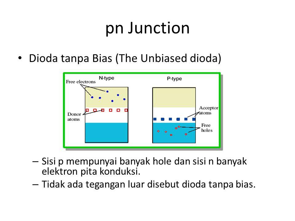 pn Junction • Dioda tanpa Bias (The Unbiased dioda) – Sisi p mempunyai banyak hole dan sisi n banyak elektron pita konduksi. – Tidak ada tegangan luar