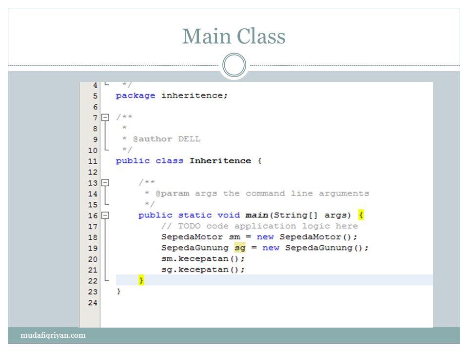 Interface  Interface adalah jenis khusus dari blok yang hanya berisi method signature(atau constant ).