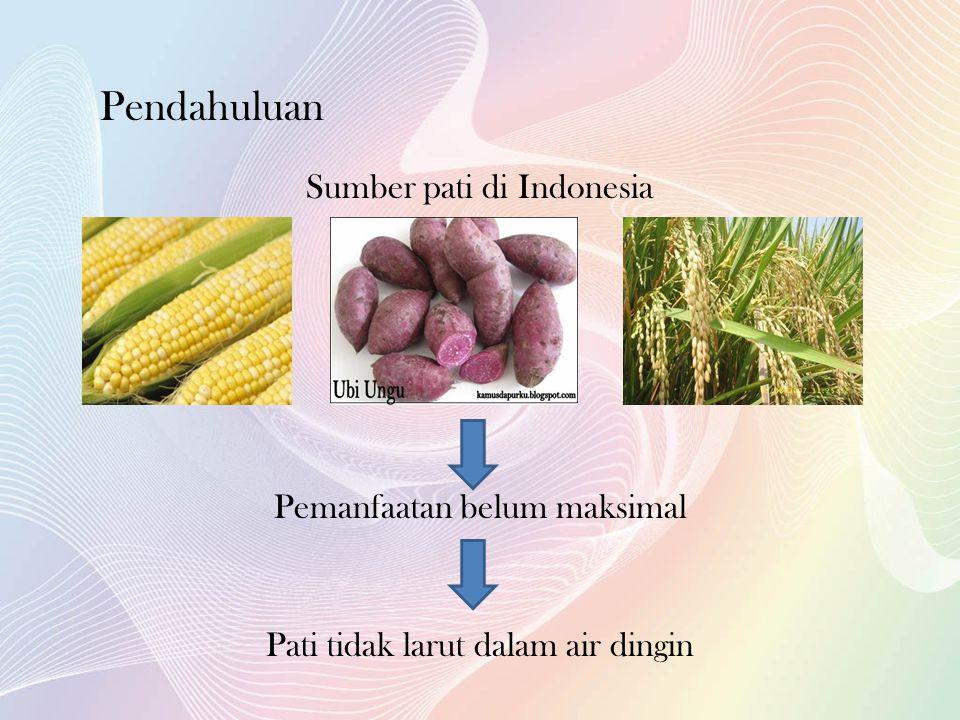 Sumber pati di Indonesia Pemanfaatan belum maksimal Pati tidak larut dalam air dingin Pendahuluan