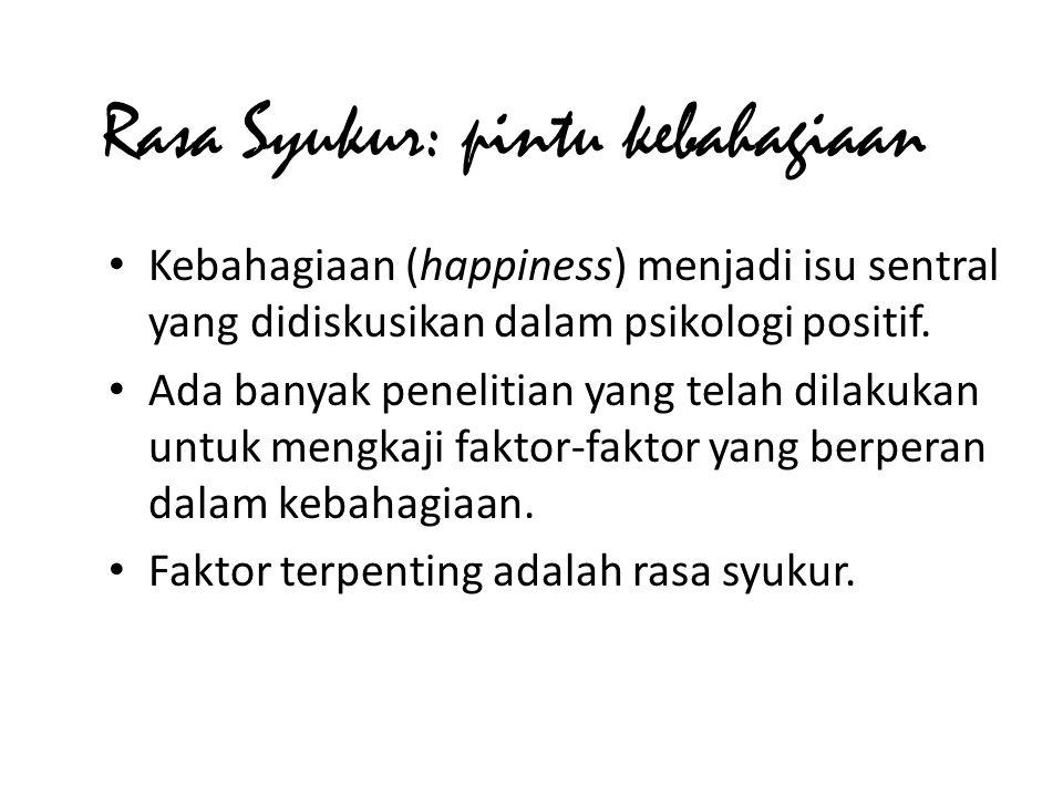 • Kebahagiaan (happiness) menjadi isu sentral yang didiskusikan dalam psikologi positif.