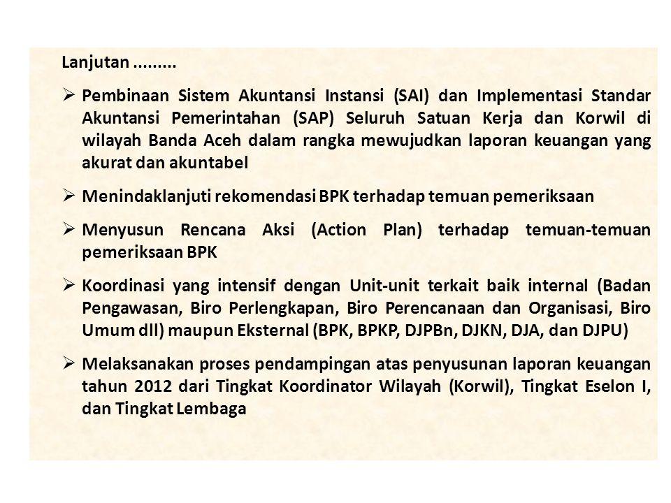Lanjutan.........  Pembinaan Sistem Akuntansi Instansi (SAI) dan Implementasi Standar Akuntansi Pemerintahan (SAP) Seluruh Satuan Kerja dan Korwil di