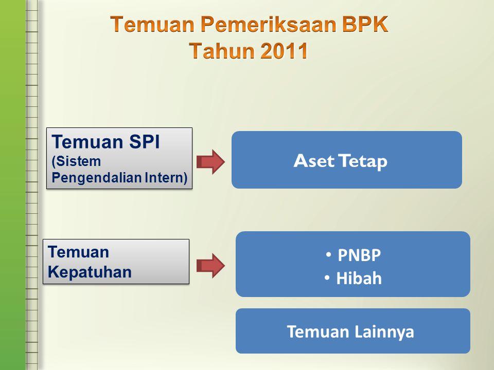 Temuan SPI (Sistem Pengendalian Intern) Temuan SPI (Sistem Pengendalian Intern) Aset Tetap Temuan Kepatuhan • PNBP • Hibah Temuan Lainnya