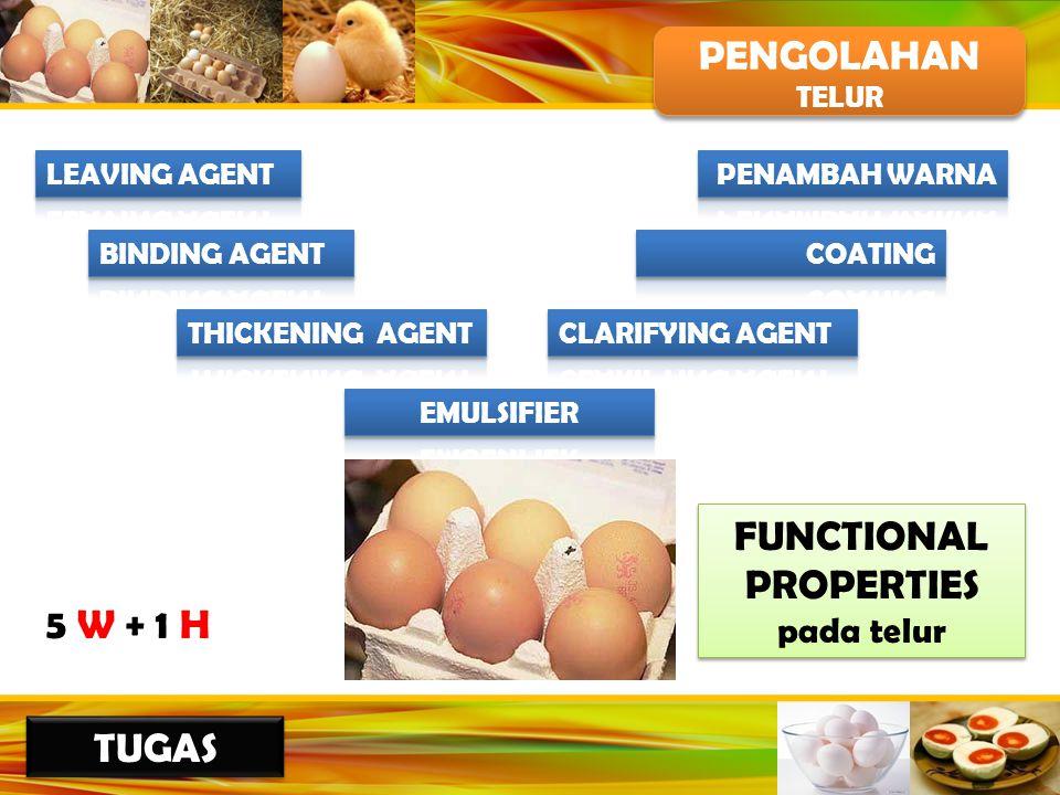 PENGOLAHAN TELUR PENGOLAHAN TELUR 5 W + 1 H FUNCTIONAL PROPERTIES pada telur FUNCTIONAL PROPERTIES pada telur TUGAS