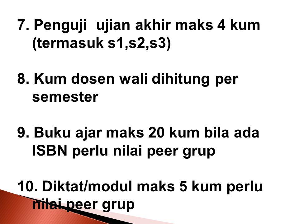 7. Penguji ujian akhir maks 4 kum (termasuk s1,s2,s3) 8. Kum dosen wali dihitung per semester 9. Buku ajar maks 20 kum bila ada ISBN perlu nilai peer