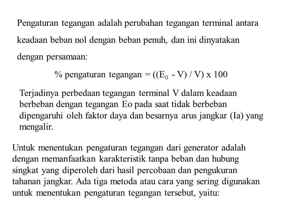 Pengaturan tegangan adalah perubahan tegangan terminal antara keadaan beban nol dengan beban penuh, dan ini dinyatakan dengan persamaan: % pengaturan