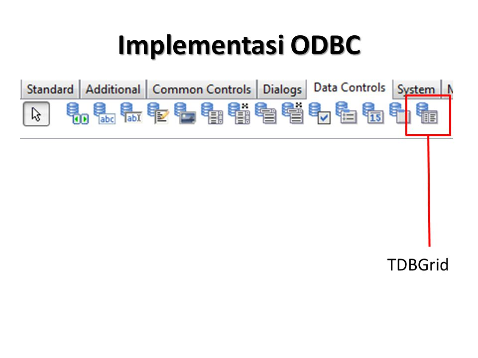 Implementasi ODBC (Tanpa DSN) Melalui Procedure Form Create conn.Driver := MYSQL ODBC 5.2 ANSI DRIVER ; conn.UserName := root ; conn.Password := ; conn.Params.Add( SERVER=localhost ); conn.Params.Add( PORT=3306 ); conn.Params.Add( DATABASE=mahasiswa ); conn.Connected:=TRUE; SQLQuery1.Active:=TRUE;